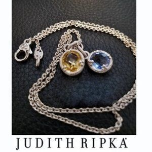 New 925 Judith Ripka 2 Crystal Stone Drop Necklace